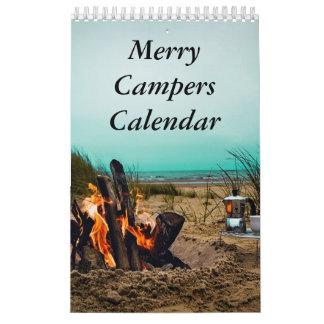Fröhlicher Lagerbewohner-Campings-Foto-Kalender Abreißkalender