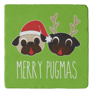 Fröhlicher Pugmas Weihnachtssankt-Mops-Ren-Mops Töpfeuntersetzer