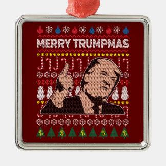 Fröhlicher Trumpmas Feiertag Donald Trump Quadratisches Silberfarbenes Ornament