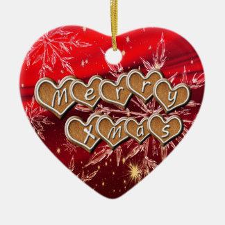 Fröhlicher Weihnachtstext auf Lebkuchenherzen Keramik Ornament