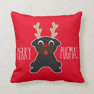 Fröhliches Pugmas schwarzes Mops-Ren Kissen