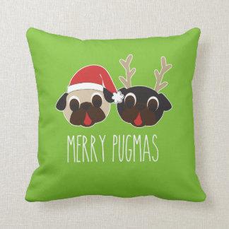 Fröhliches Pugmas Weihnachtskissen-Ren u. Kissen