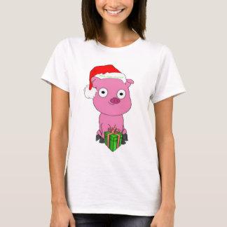 Fröhliches veganes Weihnachtsrosa-Schwein-Kleid T-Shirt