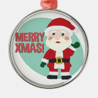 Fröhliches Weihnachten Rundes Silberfarbenes Ornament