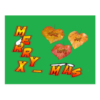 Fröhliches Weihnachten u. Herz 3 formten Blätter Postkarte