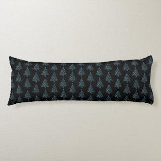 Fröhliches Weihnachtsbaum-Muster-Schwarz-blaues Seitenschläferkissen