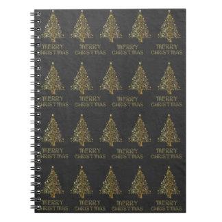 Fröhliches Weihnachtsbaum-Stern-schwarzes Notizblock