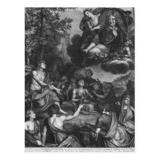 """Frontispiz """"zu den Gesamtwerken durch Nicolas Postkarte"""