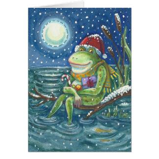 Frosch auf Klotz WEIHNACHTSgruß-KARTE Grußkarte