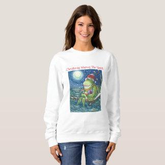 Frosch auf Klotz WEIHNACHTSSweatshirt Sweatshirt