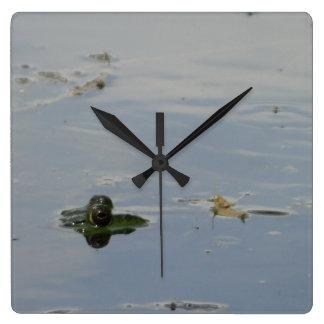Frosch-Augen, die herauf Überwasseruhr spähen Quadratische Wanduhr
