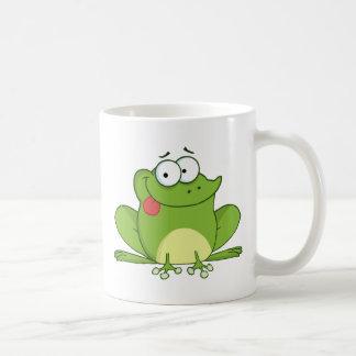 Frosch-Cartoon-Charakter, der heraus seine Zunge Tasse