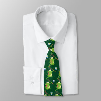Frosch, der Fliege mit NettoKrawatte jagt Bedruckte Krawatte