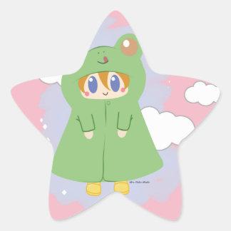 Frosch Kawaii regnerischer Tagesfrosch Stern-Aufkleber