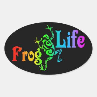 Frosch-Leben Ovaler Aufkleber