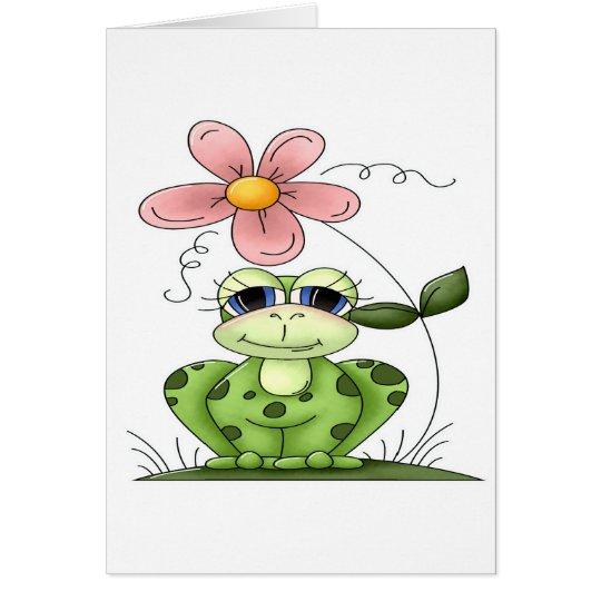 Frosch mit Blume Grußkarte