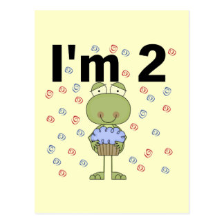 Frosch mit Kuchen-2. Geburtstags-T-Shirts Postkarte