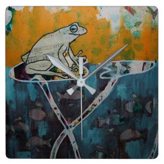 Frosch-Musik-Uhr Quadratische Wanduhr