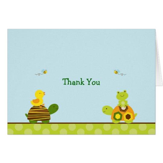 Frosch-Schildkröte-Ente danken Ihnen Mitteilungskarte