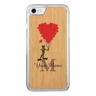 Frosch und rotes Herzmonogramm Carved iPhone 8/7 Hülle