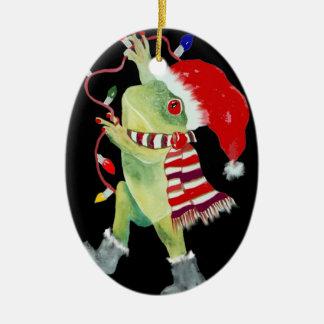 Frosch-Weihnachtslichtverzierung Ovales Keramik Ornament