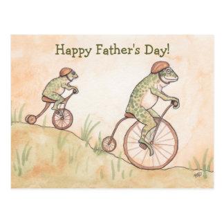 Frösche auf der Vatertags-Postkarte Fahrrad-