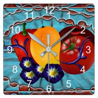 Frucht-Gemüse Quadratische Wanduhr
