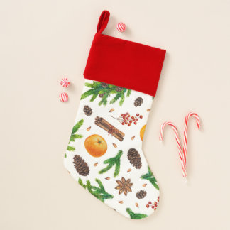 Frucht-Gewürz-und Immergrün-Weihnachtsmuster Weihnachtsstrumpf
