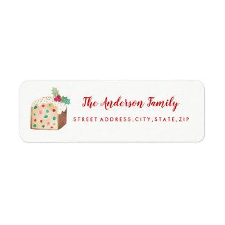 Frucht-Kuchen-WeihnachtsRücksendeadresse-Aufkleber