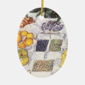 Frucht stehen Gustave Caillebotte, Vintage Kunst Ovales Keramik Ornament
