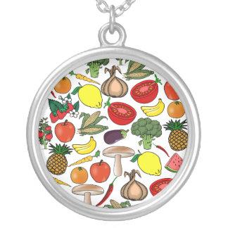Frucht- u. Veggieshalskette, wählen Art Versilberte Kette