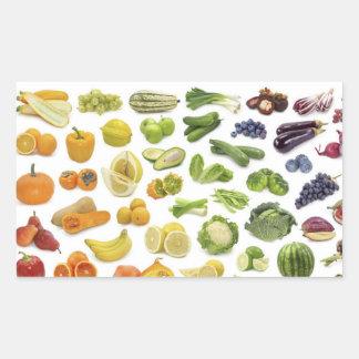Früchte und Veggies! Rechteckiger Aufkleber