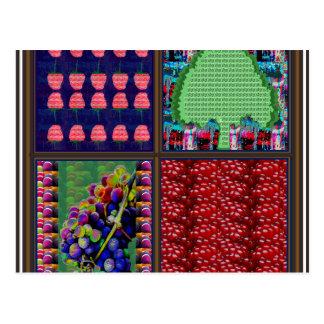Fruchtgraphiken Trauben-Himbeerbaum Pomgranate Postkarte
