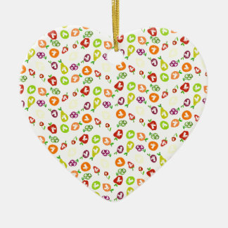 Fruchtige Einhörner Keramik Herz-Ornament