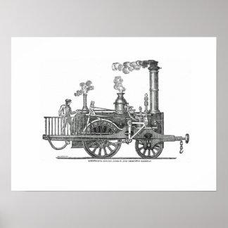 Frühe Dampf-Lokomotive Poster