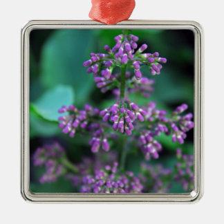 Früher Morgen-Fliedern Quadratisches Silberfarbenes Ornament