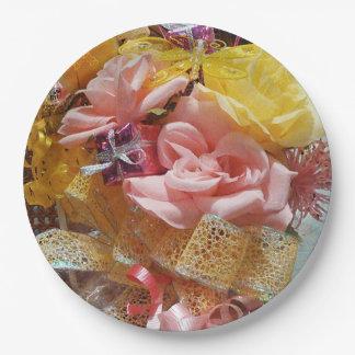 Frühjahr-rosa Rosen u. Gelb-Bogen-Papier-Teller Pappteller