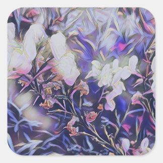 Frühjahr-Wildblumen in der malvenfarbenen Quadratischer Aufkleber