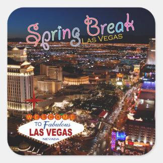 Frühjahrsferien-Las Vegas-Aufkleber Quadratischer Aufkleber