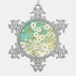 Frühjahrszene Schneeflocken Zinn-Ornament