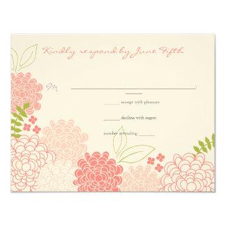 Frühling blüht Hochzeits-Antwort 10,8 X 14 Cm Einladungskarte