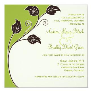Frühling grün und Elfenbein-Hochzeits-Einladung Quadratische 13,3 Cm Einladungskarte
