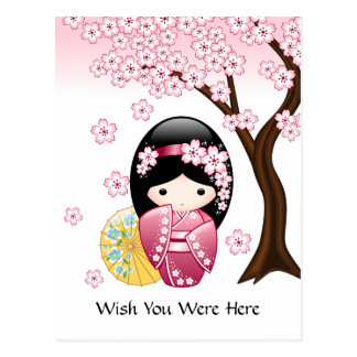 Frühling Kokeshi Puppe - japanischer Geisha-Wunsch Postkarte