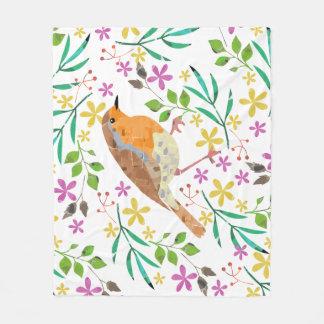 Frühling mit Blumen und Rotkehlchenvogel Fleecedecke