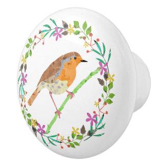 Frühling mit Blumen und Rotkehlchenvogel Keramikknauf