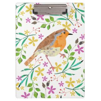 Frühling mit Blumen und Rotkehlchenvogel Klemmbrett