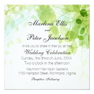 Frühling verlässt Watercolor-Hochzeit Quadratische 13,3 Cm Einladungskarte