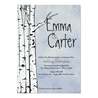 Frühlings-Birken-Baum-Hochzeits-Einladung Karte