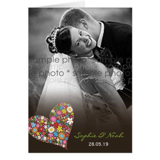 Frühlings-Blumen-Herz-Hochzeit danken Ihnen Mitteilungskarte