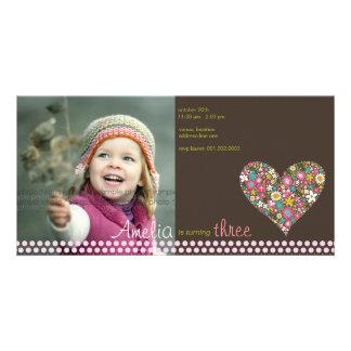 Frühlings-Blumen-Herz-Mädchen-Geburtstags-Foto Karte